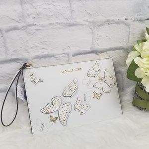 Michael Kors| Optic White Butterfly Clutch